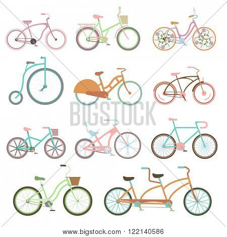 Vintage retro bicycle set and style antique sport vintage grunge bicycle flat vector. Vintage bicycle set riding bike transport flat vector illustration.
