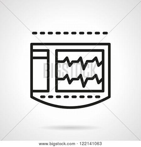 ECG monitor black line vector icon