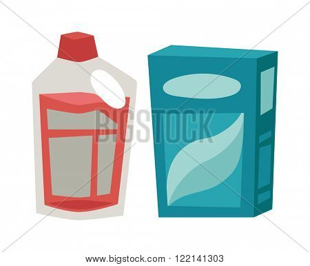 Cleanser box, plastic bottle detergent chemical soap and detergent housework disinfectant equipment. Plastic detergent container and paper box flat vector illustration on white background.
