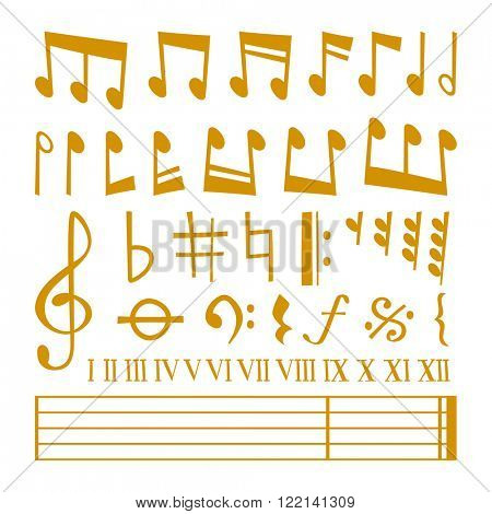 Gold music notes vector set and silhouette of music notes graphic icons. Vector gold icons set music note melody symbols vector illustration.