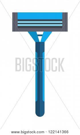Shaving razor isolated vector illustration on white background. Razor for shaving and care razor shaver safety equipment vector.