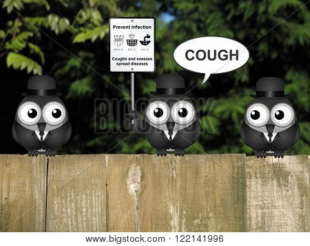 Comical flu and cold prevention sign with birds perched on a timber garden fence against a foliage background