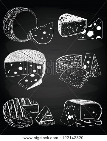 Vector set of vintage cheese collection on the chalkboard background