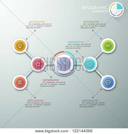 Modern flowchart or mindmap infographics template with paper circles, icons and pie chart. Vector. Can be used for web design, presentations, brochures and workflow layout