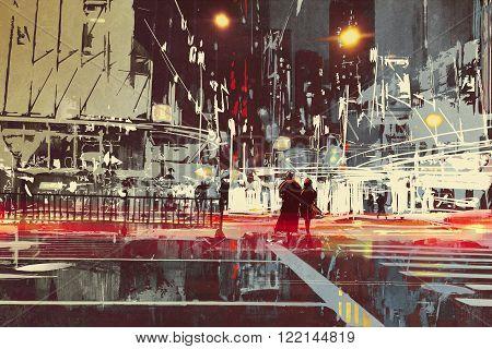 night scene of modern city street, illustration painting