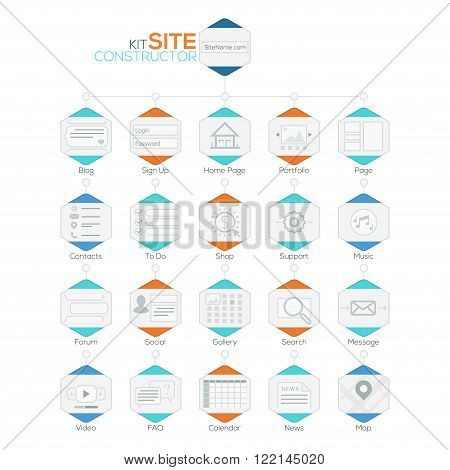 Vector Set of Flat Website Templates. Navigation Elements and Icons For Site Map. Vector. Can be used for web design, presentations, brochures and workflow layout