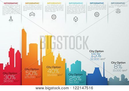 Modern infographic option banner with colorful city bar chart. Vector. Can be used for workflow layout, banner, diagram, web design, infographic template.