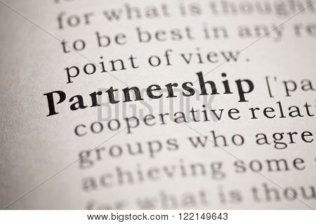 Fake dictionary, definition of the word partnership