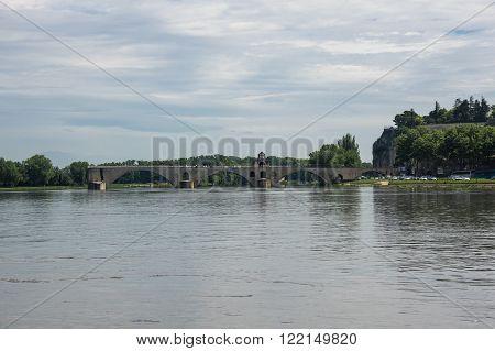 Pont d'Avignon and Rhone river in Avignon France