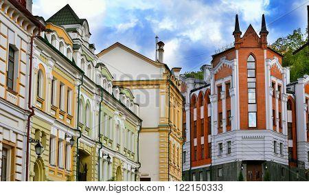 Kiev Ukraine. Old houses on the St. Andrew's Descent street in Kyiv