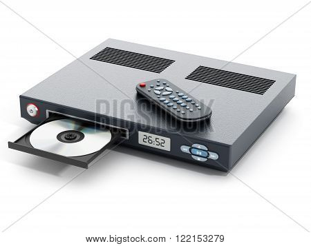 Blu-ray player with open disc tray and remote controller