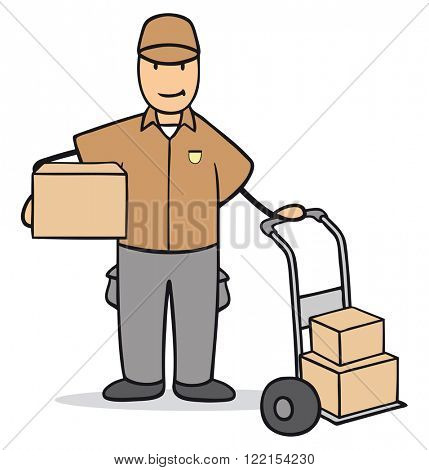 Cartoon man as parcel delivery service with a box in his hands