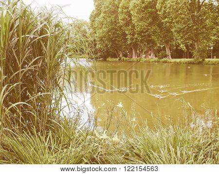 Pond in the Mittlerer Schlossgarten park in Stuttgart Germany vintage