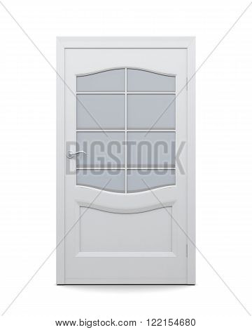 Door with glass isolated on white background. 3d rendering. Interior door with glass insert, closed.