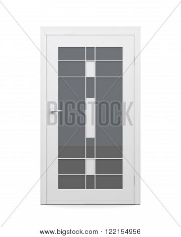 Glazed door isolated on white background. 3d rendering.