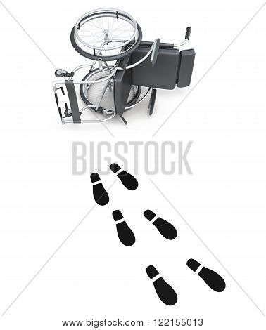Overturned wheelchair and footprints on white background. 3d rendering.