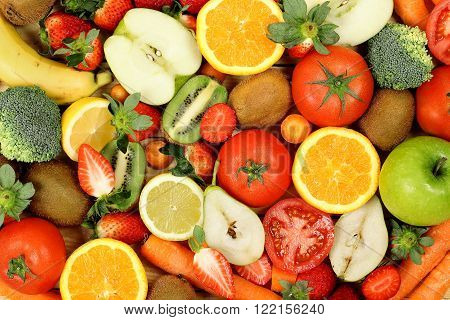 large variety of fresh fruits and vegetables