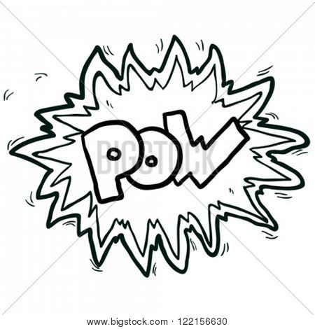 simple black and white cartoon comic book pow symbol