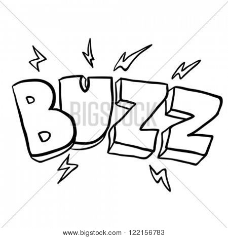 simple black and white freehand drawn cartoon buzz symbol