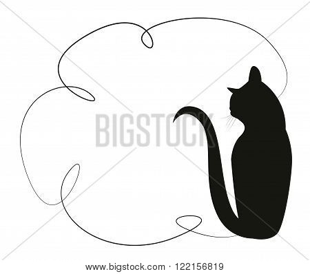 Simple frame with a black cat. Silhouette of a cat sitting in the back. Vector illustration