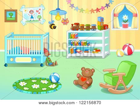 Funny nursery with toys. Vector cartoon illustration