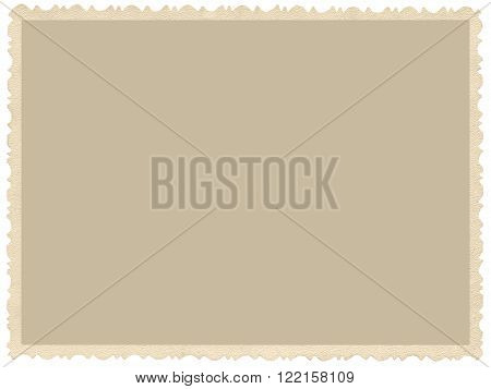 Old aged grunge edge sepia photo, blank empty horizontal background, isolated yellow beige vintage photograph picture card border frame, retro postcard copy space, large detailed closeup