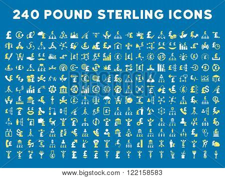 240 British Business vector icons. Style is bicolor yellow and white flat symbols on a blue background. Pound sterling icon is basic element.