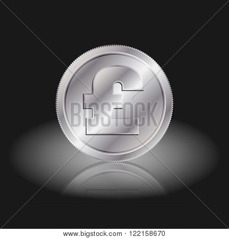 Symbol currency pound. Pound sign on silver coins with shadow on a black background.