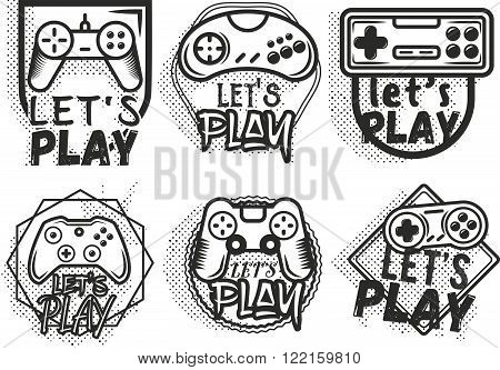 Vector set of game play joystick in vintage style. Design elements, icons, logo, emblems and badges isolated on white background. Outdoor adventure concept illustration. Lets play video game concept.