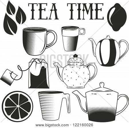 Tea time hand drawn vector illustration. Set of tea objects isolated on white background. Cup, tea pot, tea bag, lemon.