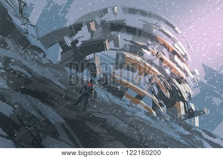 man standing on the hill watching the abstract architecture, illustration painting