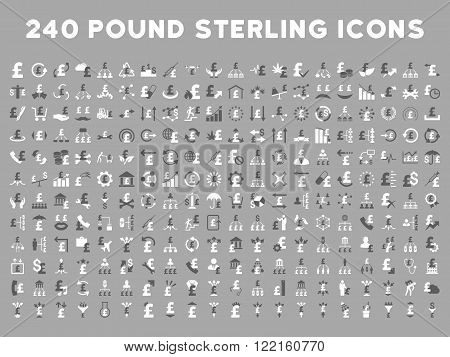 240 British Business vector icons. Style is bicolor dark gray and white flat symbols on a silver background. Pound sterling icon is basic element.