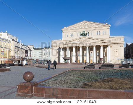 Moscow - March 13 2016: Beautiful Russian State Academic Bolshoi Theatre - Opera and Ballet Theatre and tourists at March 13 2016 Moscow Russia