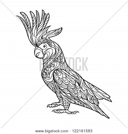 Cockatoo parrot bird coloring book for adults vector illustration. Anti-stress coloring for adult. Zentangle style. Black and white lines. Lace pattern