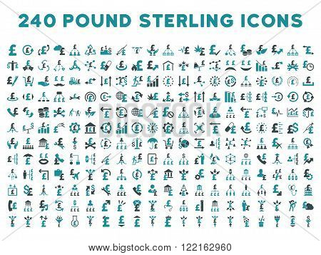 240 British Business vector icons. Style is bicolor soft blue flat symbols on a white background. Pound sterling icon is basic element.