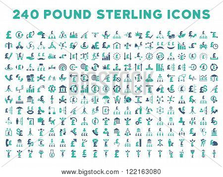 240 British Business vector icons. Style is bicolor cobalt and cyan flat symbols on a white background. Pound sterling icon is basic element.