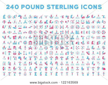 240 British Business vector icons. Style is bicolor pink and blue flat symbols on a white background. Pound sterling icon is basic element.