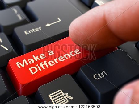 Make a Difference Concept. Person Click on Red Keyboard Button. Selective Focus. Closeup View. 3D Render.