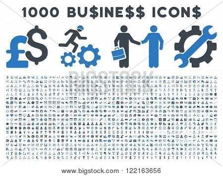1000 Business vector icons. Pictogram style is bicolor smooth blue flat icons on a white background. Pound and dollar currency icons are used