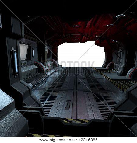 inside a futuristic scifi spaceship
