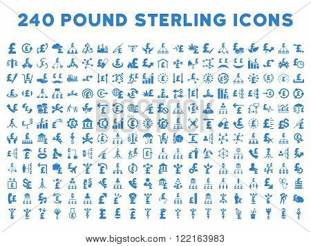 240 British Business vector icons. Style is cobalt flat symbols on a white background. Pound sterling icon is basic element.