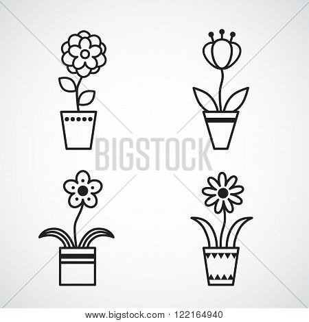 Set of flat icon flower icons in silhouette isolated on white. Cute retro design for stickers, labels, tags, gift wrapping paper.