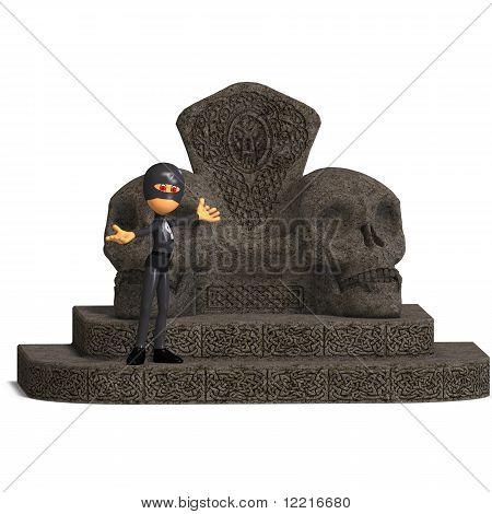 funny cartoon hero on a throne