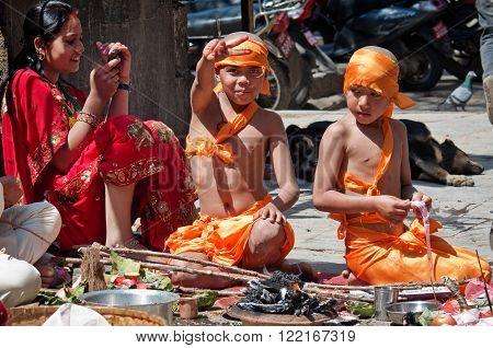 Children In Traditional Dress At  Durbar Sqaure In Kathmandu