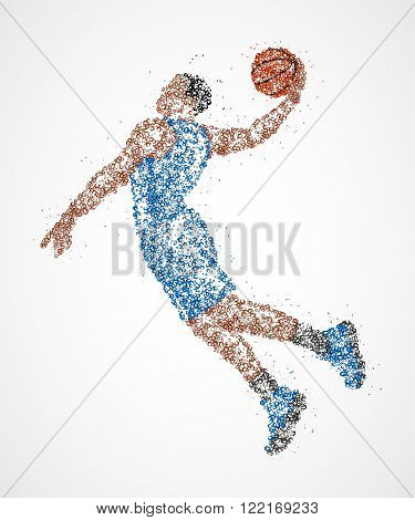 Abstract basketball player in jump of multicolored circles. Vector illustration.