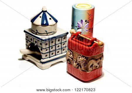 aroma oil burner isolated on white,lamp,health,three objekt