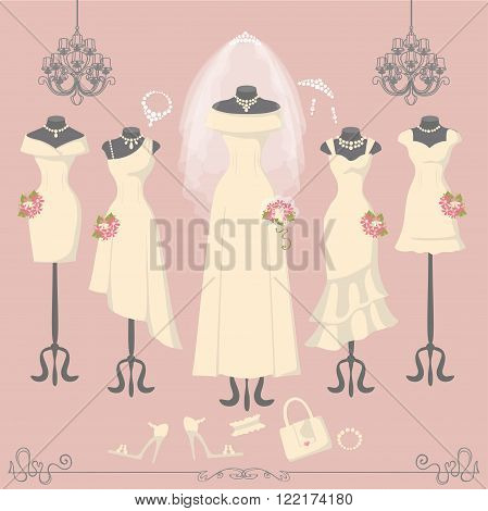 Wedding dresses on mannequin.Fashion bride and bridesmaid wear.White dress, accessories set, flowers bouquet, veil, swirls and chandelier.Bridal shower composition.Holiday vector background.