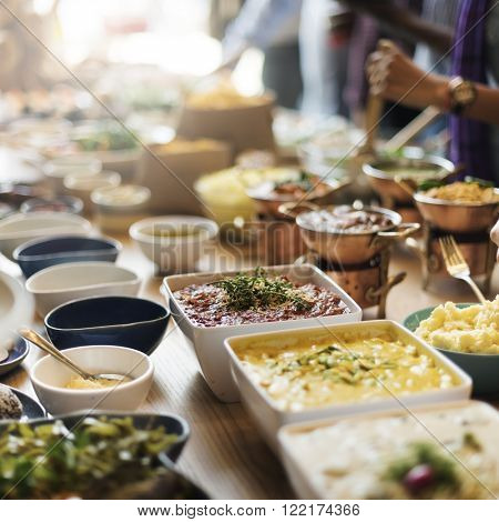Buffet Brunch Food Eating Festive Cafe Dining Concept poster