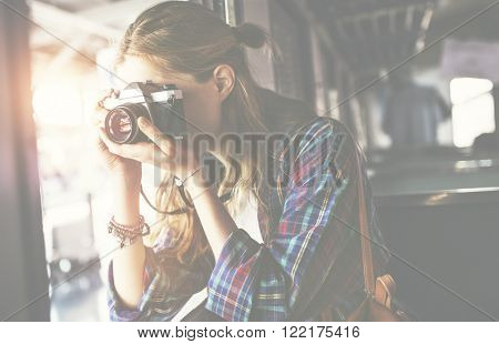 Girl Adventure Hangout Traveling Holiday Photography Concept poster