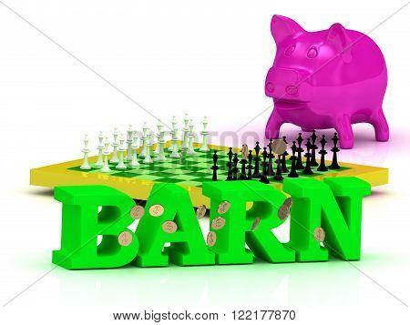 BARN bright word money pink piggy yellow chess on white background